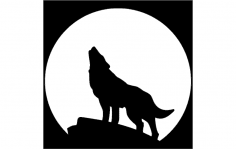 Wolf With Moon dxf File