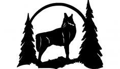 Howling wolf silhouette dxf File
