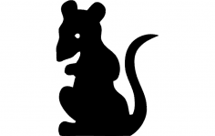 Rat Standing Silhouette dxf File