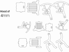 3 Chairs dxf File