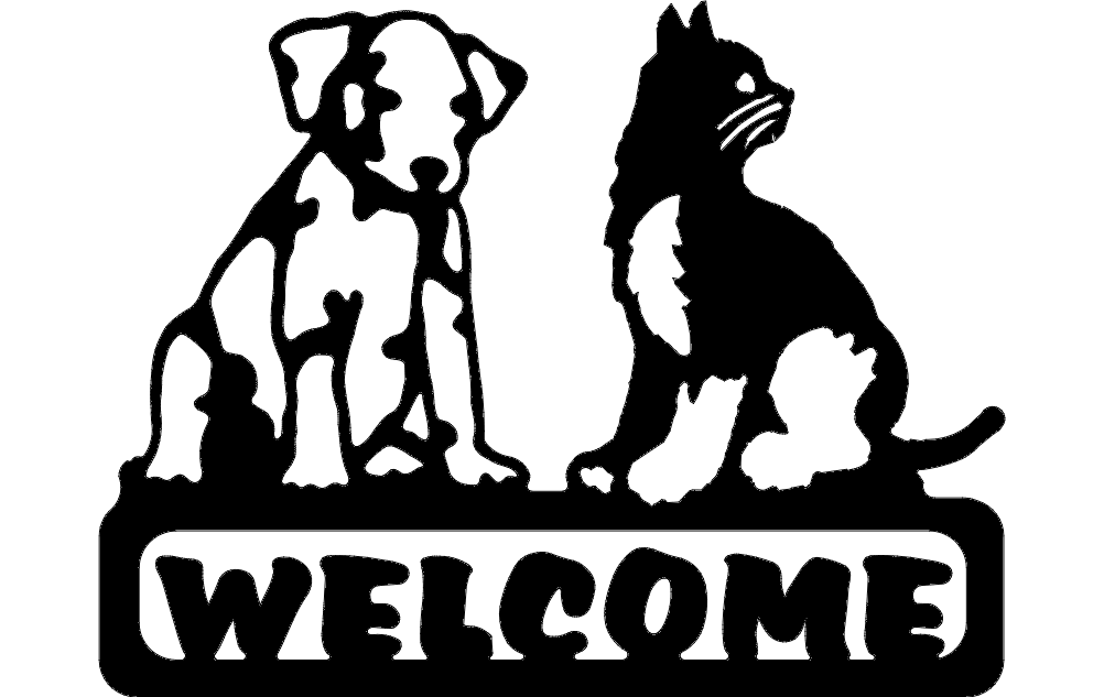 Welcome Sign Dog And Cat Dxf File Free Download 3axis Co