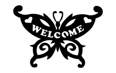 Butterfly Welcome dxf File
