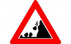 Road Sign Falling rocks dxf File
