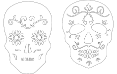 2 Sugar Skulls dxf File