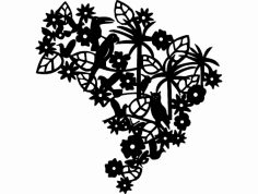 Brasil Com Bicho E Folha  dxf File