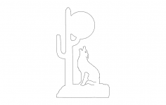 Wolf Howling At Moon dxf File