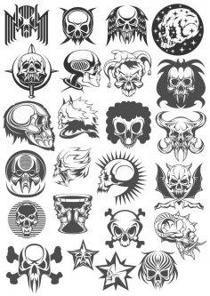 Skull Head Vector Set CDR File