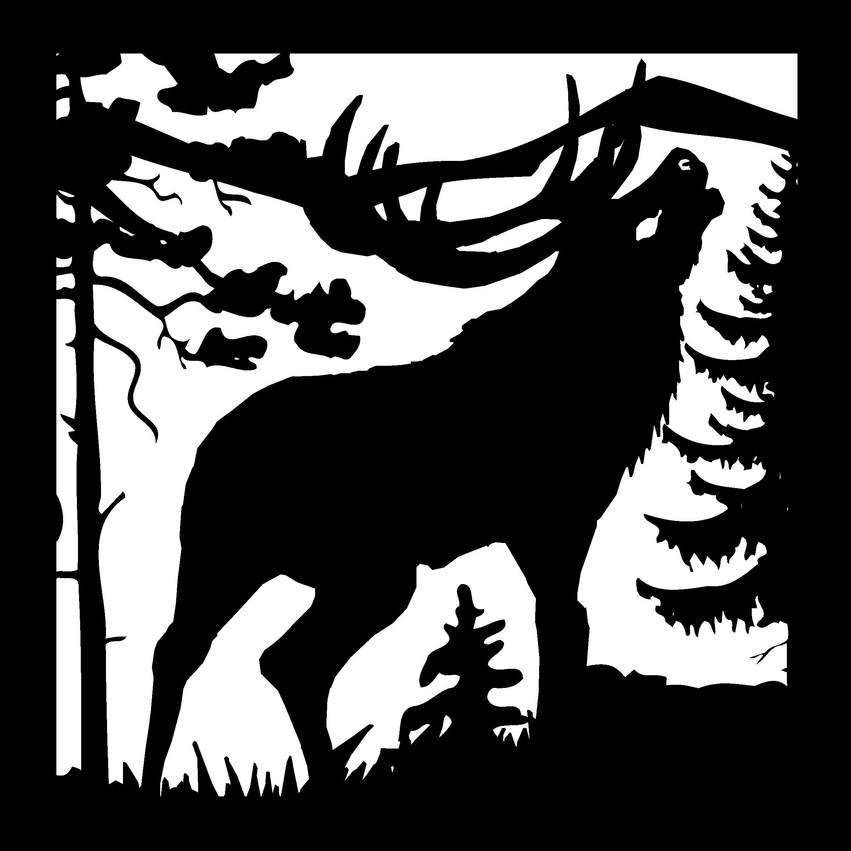 DXF CNC Plasma Laser Cut Ready Vector Bull Elk PineTree Bugle Weather Vane