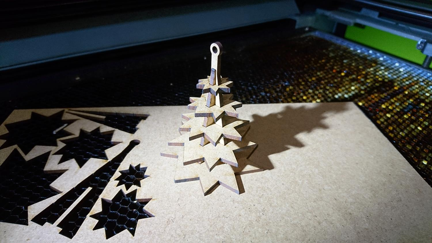 Wooden Christmas Tree Laser Cutting Template DXF File