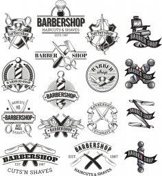 Barbershop Logo Set Free Vector