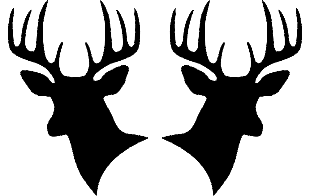 Two Deer Heads Silhouette dxf File Free Download - 3axis.co
