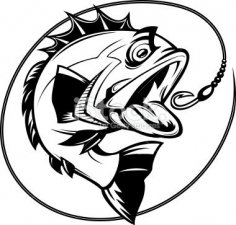Bass Fish Outline dxf File