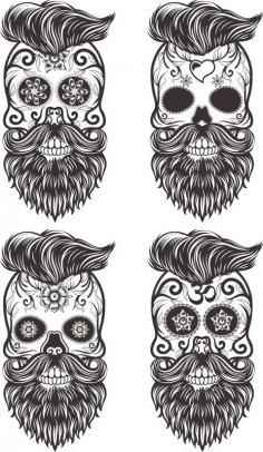 Painted Bearded Mustache Skull CDR File