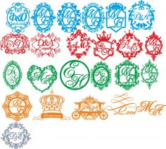 Wedding Monogram Vector Set CDR File