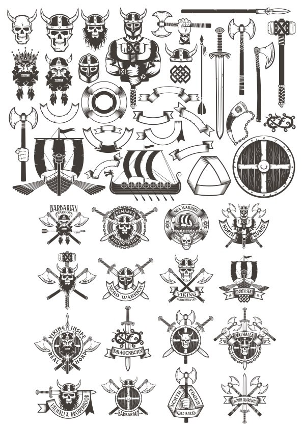 Viking Elements Vector Art Free Vector Cdr Download 3axis Co