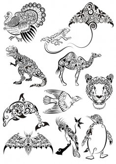 Ornament Animals Tattoo Vectors Pack CDR File