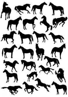 Horses Silhouette Vector Pack CDR File