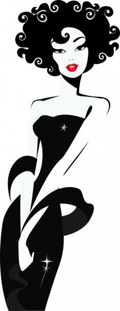 Lady Looking Silhouette Vector CDR File