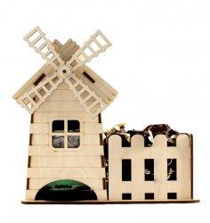 Laser Cut Windmill Tea House Template Free Vector
