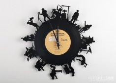 Laser Cut Musicians Vinyl Record Clock DXF File