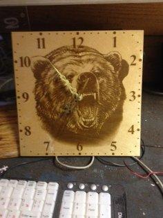 Laser Engraving Bear Clock Template Free Vector