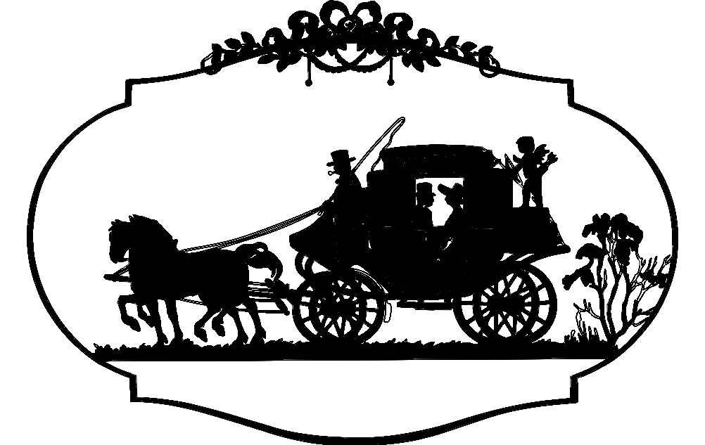 horse carriage dxf file free download