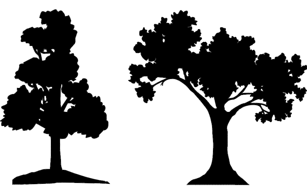 Trees Silhouette Vector Dxf File Free Download 3axis Co