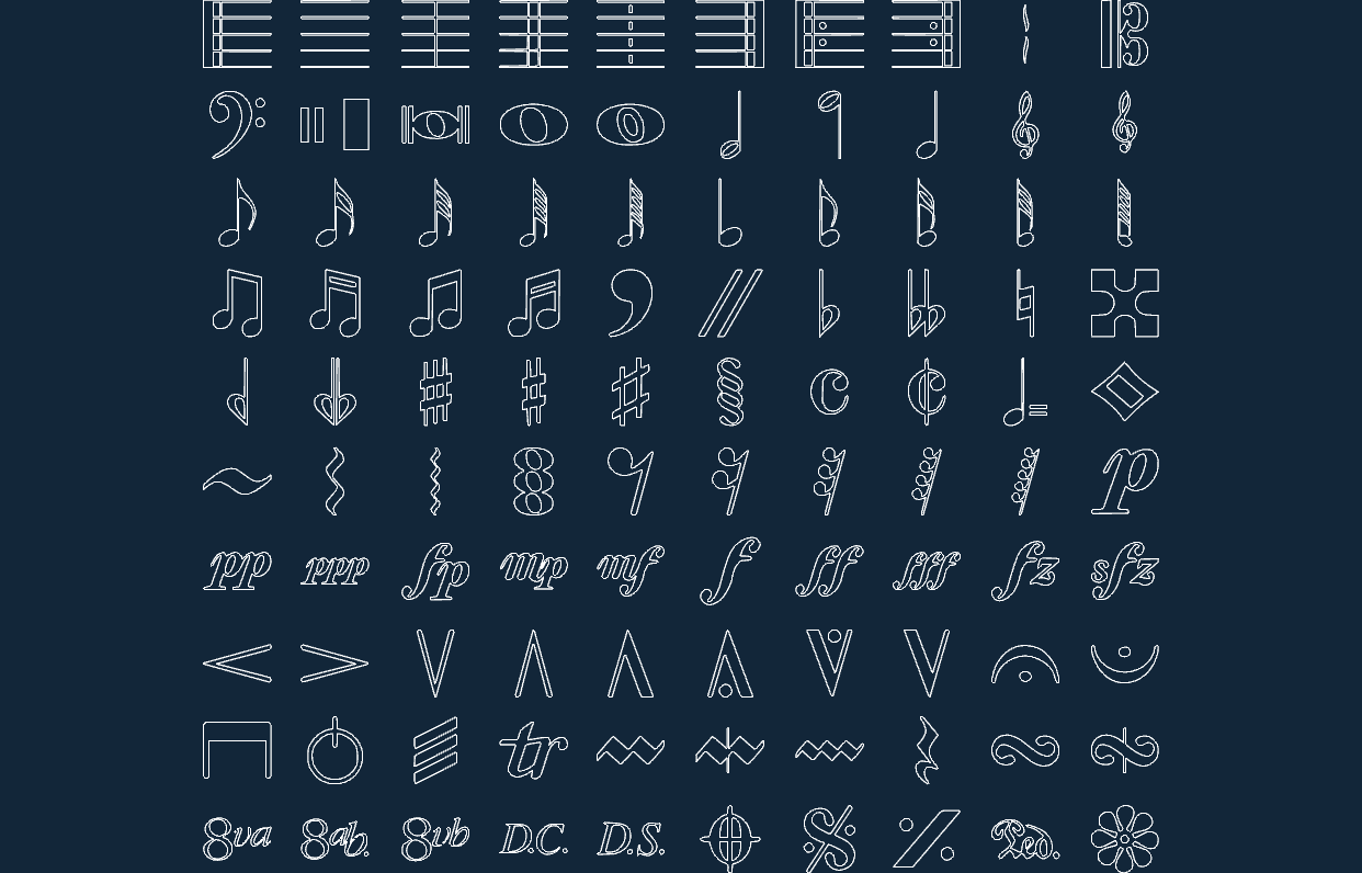 Music Symbols DXF File Free Download - 3axis co