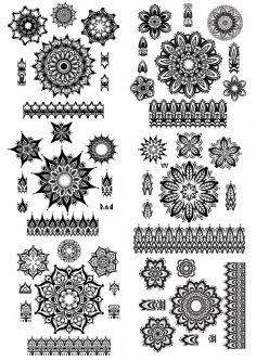 Mandala ornament set Vector CDR File