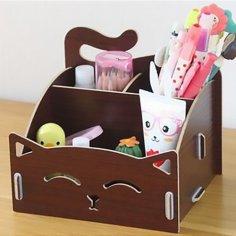 Laser Cut Cute Cat Wooden Storage Box Office Desktop Cosmetic Organizer Free Vector