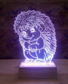 Sitting Hedgehog 3D Lamp Model dxf File