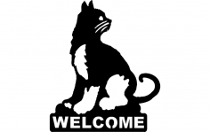 Cat Welcome dxf File