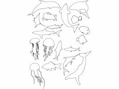 siluety.morskih.ryb dxf File