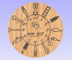 Motor parçalı Saat dxf File