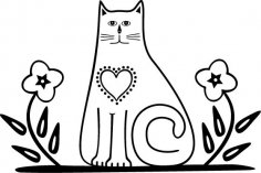 Cat with Flowers EPS File
