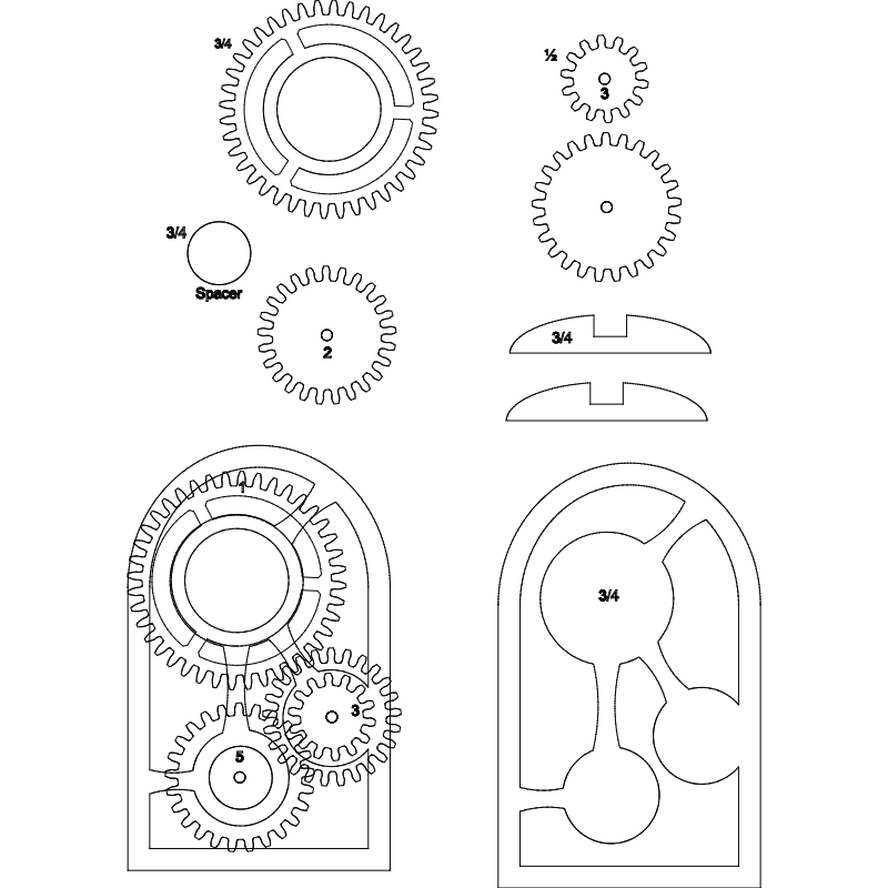 Wooden Gear Clock Dxf File Free Download 3axis Co