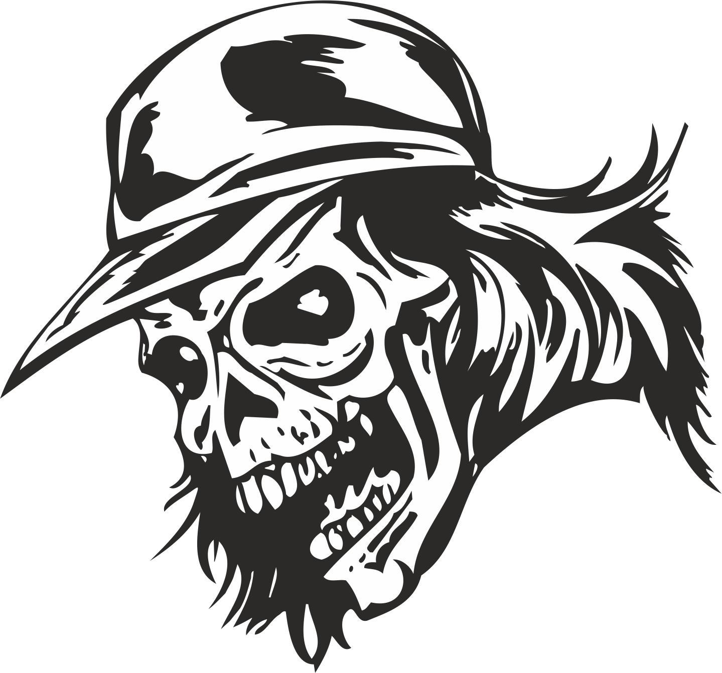 Zombie Skull With Cap Sticker Vector Free Vector Cdr