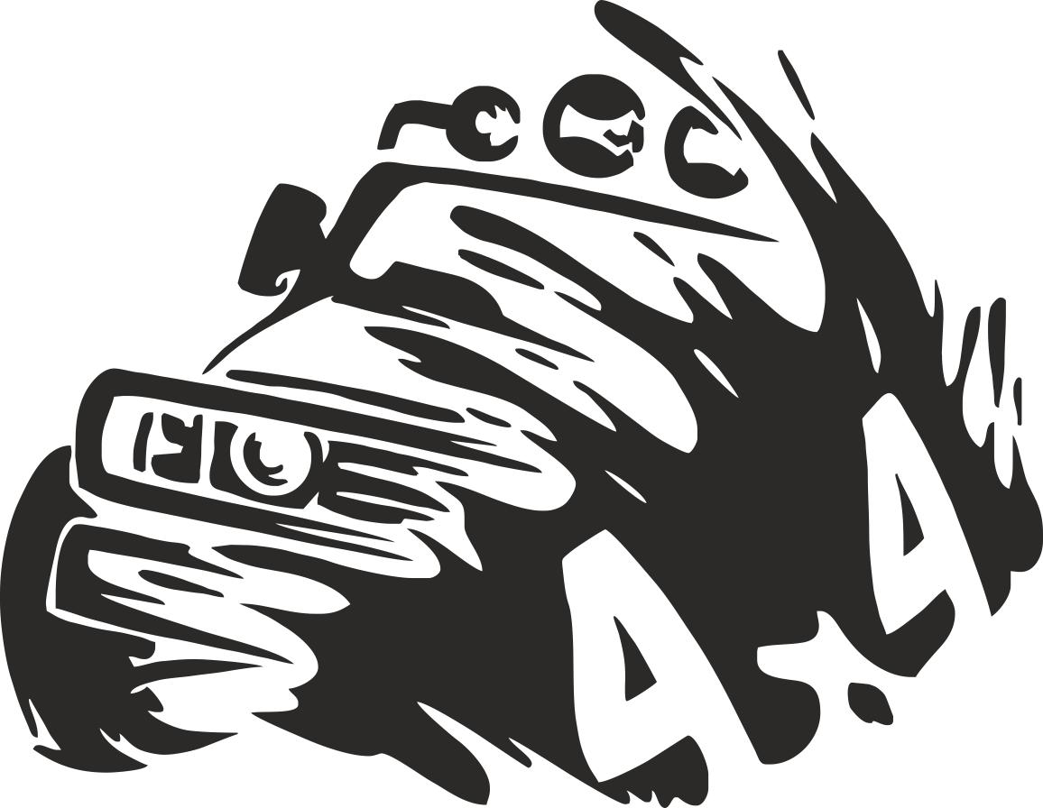 4x4 truck silhouette sticker vector free vector