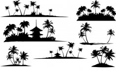 Tropical Islands Silhouette Vector CDR File