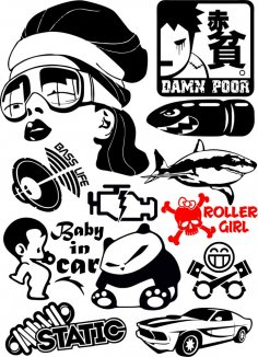 Vinyl stickers Vector Pack CDR File