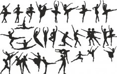 Ballet Dancer Silhouette Vector Set CDR File