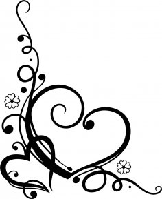Love Heart Floral Swirl Vector CDR File