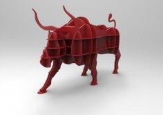 Laser Cut Wooden Bull Shelf Furniture Storage Shelf Free Vector