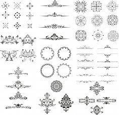 Ornamental Elements Design Kit Free Vector