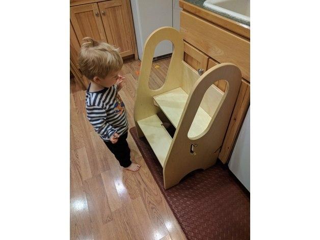 Laser Cut Kid Step Stool Step Up Kitchen Helper Free Vector