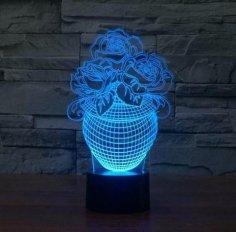 Rose In A Vase 3D Illusion Lamp Led Night Lights PDF File