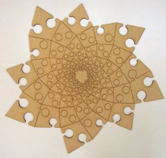 Fibonacci Spiral Jigsaw Puzzle very deep dxf File