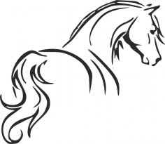 Tribal Tattoo Horse Outline Stencil dxf File