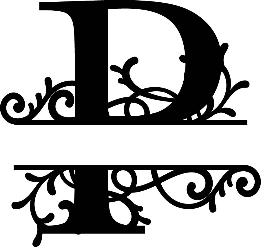 Split Monogram Letter P DXF File Free Download   3axis.co