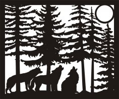 30 X 36 Three Wolves Moon Plasma Metal Art DXF File
